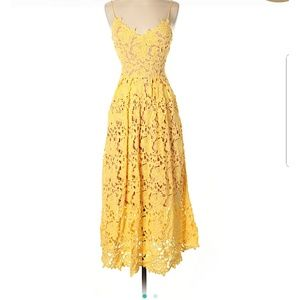 Yellow floral lace midi dress by H&m